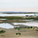 Juist-Watt (10) Aquarellfarbe, Gouache, Papier, MDF Platte, 2014, 30x24 cm
