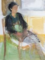 Sitzende Frau (Berti 2), Eitempera, Papier, Presspanplatte, 2013-2014,