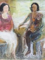 Sitzende Frauen ( Rosanna, Maria 2 ) Eitempera, Papier,  Pressspanplatte, 2013, 47 x 56 cm