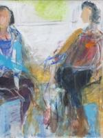 Sitzende Frauen ( Rosanna, Maria 4) Eitempera, Pressspanplatte, 2013, 49 x 64,5 cm