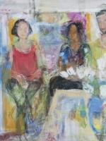 Sitzende Frauen (Rosanna, Maria und Frederick), Eitempera, Leinwand, 2014, 76x70 cm