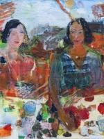 Sitzende Frauen (Rosanna und Maria), Eitempera, Kreide, Papier, Leinwand, 2014, 80x80 cm