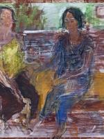 Sitzende Frauen (Rosanna und Maria), Eitempera, Kreide, Papier, Pressspanplatte, 2014, 40x44,5 cm