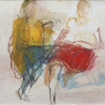 Zwei Mädchen (Katharina, Dorothea 1 ) Eitempera, Papier, Pressspanplatte, 2013, 65 x 49 cm