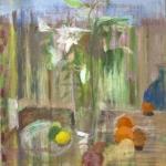 Stillleben mit Lilien und Orangen, Eitempera, Leinwand, 2011, 97 x 80 cm