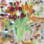 Stillleben mit Tulpenstrauß, Eitempera, Kreide,Papier Pressspanplatte, 2011, 62 x 59 cm