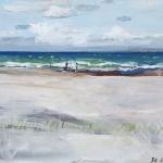 Juist (50) Aquarellfarbe, Gouache, Papier, MDF Platte, 2014 30x24 cm