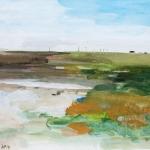Juist-Watt (11) Aquarellfarbe, Gouache, Papier, MDF Platte, 2014, 30x24 cm