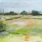 Landschaft bei Neureut Aquarellfarbe, Gouache, Papier, MDF Platte, 2012, 30x24 cm