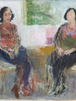 Sitzende Frauen ( Rosanna, Maria 1) Eitempera, Papier,  Pressspanplatte, 2013, 46,5  x 59 cm
