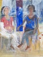 Sitzende Frauen ( Rosanna, Maria 3) Eitempera, Papier,  Pressspanplatte, 2013, 54 x 47 cm