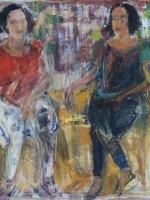 Sitzende Frauen (Rosanna und Maria), Eitempera, Kreide, Papier, Pressspanplatte, 2014, 43,5x55,5 cm