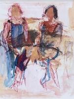 Sitzende Frauen (Rosanna und Maria), Eitempera, Kreide, Papier, Pressspanplatte, 2014, 44x58,5 cm