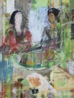 Sitzende Frauen (Rosanna und Maria), Eitempera, Leinwand, 2014, 65,5x61cm