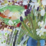 Stillleben mit Tulpen und hellgrüner Schale, Eitempera, Leinwand, 2014, 45x58 cm
