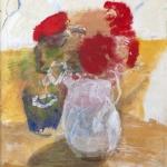 Stillleben mit roten Dahlien, Eitempera, Chinapapier, Pressspanplatte, 2009, 38,5 x 30 cm